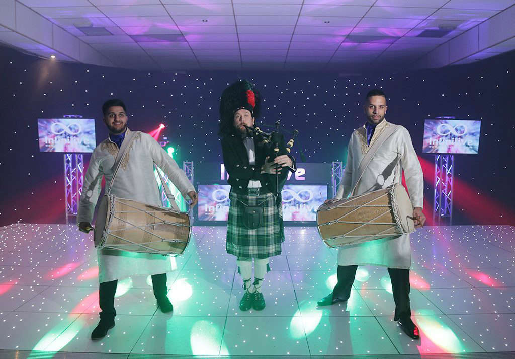 dhol drummers and bag pipes